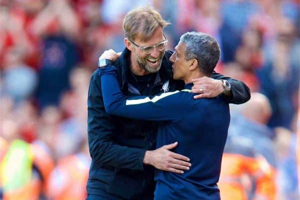 LIVERPOOL, ENGLAND - Sunday, May 13, 2018: Liverpool's manager Jürgen Klopp embraces Brighton & Hove Albion's manager Chris Hughton after the FA Premier League match between Liverpool FC and Brighton & Hove Albion FC at Anfield. Liverpool won 4-0 and finished fourth. (Pic by David Rawcliffe/Propaganda)