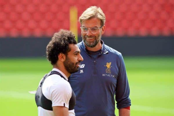 LIVERPOOL, ENGLAND - Monday, May 21, 2018: Liverpool's Mohamed Salah and manager Jürgen Klopp during a training session at Anfield ahead of the UEFA Champions League Final match between Real Madrid CF and Liverpool FC. (Pic by Paul Greenwood/Propaganda)