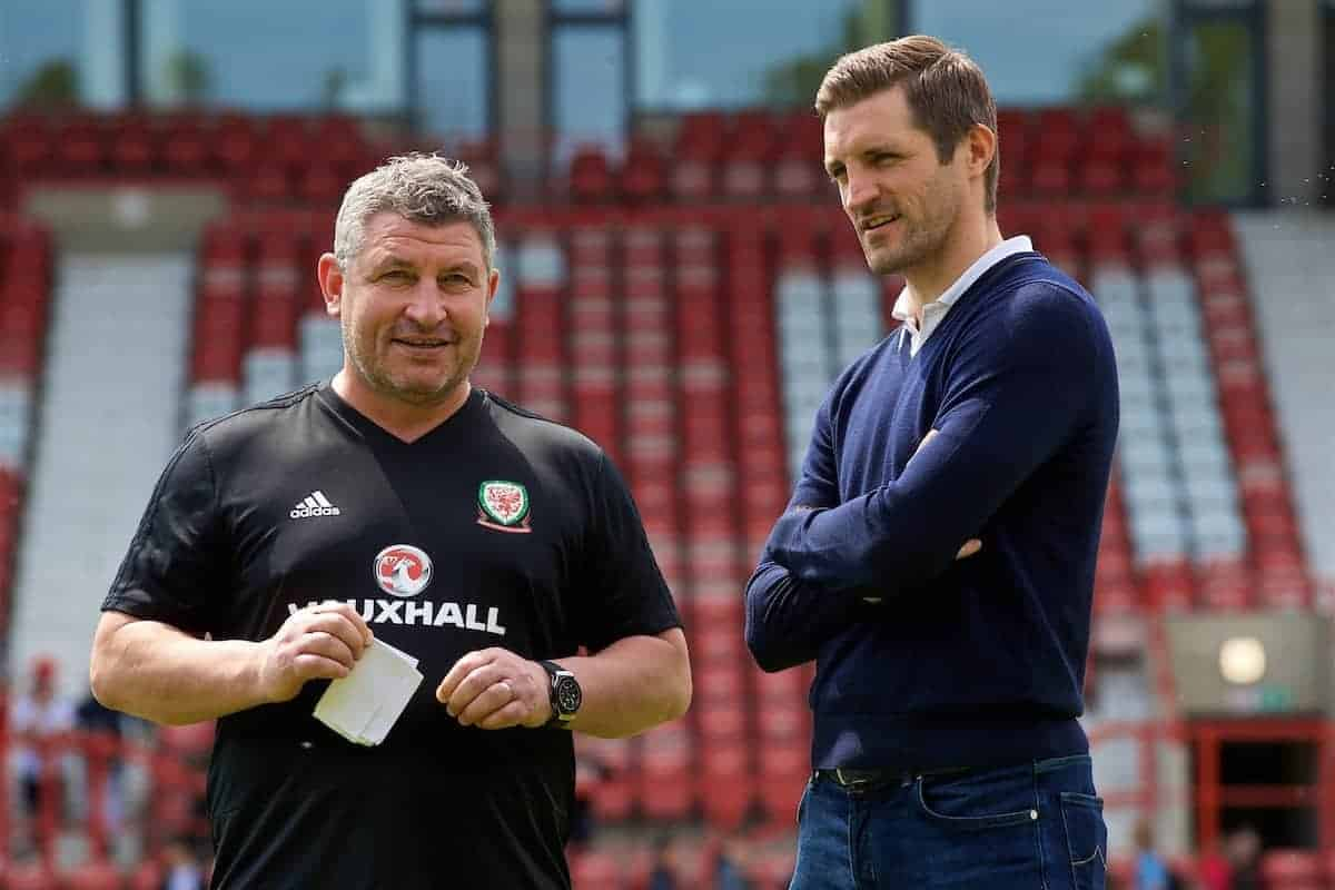 WREXHAM, WALES - Monday, May 21, 2018: Wales' assistant coach Osian Roberts and new Wrexham manager Sam Ricketts during a training session at the Racecourse Ground ahead of the international friendly match against Mexico. (Pic by David Rawcliffe/Propaganda)