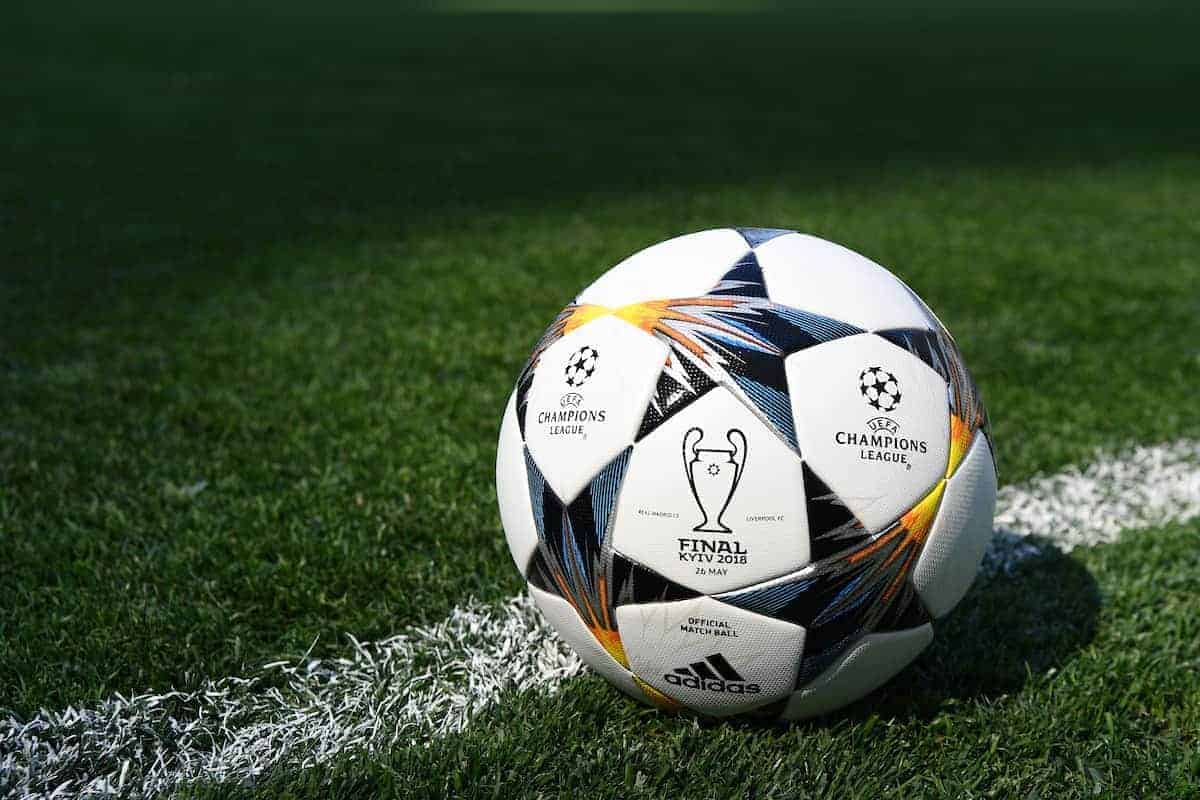 KIEV, UKRAINE - Friday, May 25, 2018: The official match ball on the pitch at the NSC Olimpiyskiy ahead of the UEFA Champions League Final match between Real Madrid CF and Liverpool FC. (Handout/UEFA via Propaganda)