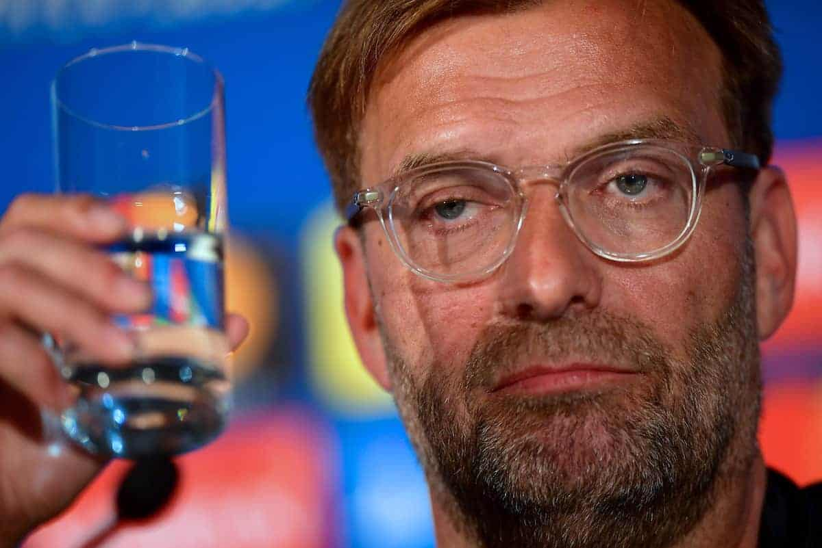 KIEV, UKRAINE - Friday, May 25, 2018: Liverpool's manager Jürgen Klopp during a pre-match press conference at the NSC Olimpiyskiy ahead of the UEFA Champions League Final match between Real Madrid CF and Liverpool FC. (Handout/UEFA via Propaganda)