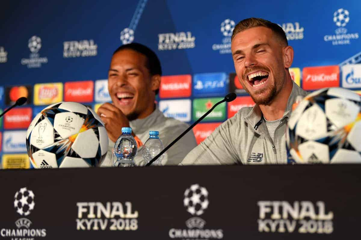KIEV, UKRAINE - Friday, May 25, 2018: Liverpool's Virgil van Dijk and captain Jordan Henderson during a pre-match press conference at the NSC Olimpiyskiy ahead of the UEFA Champions League Final match between Real Madrid CF and Liverpool FC. (Handout/UEFA via Propaganda)