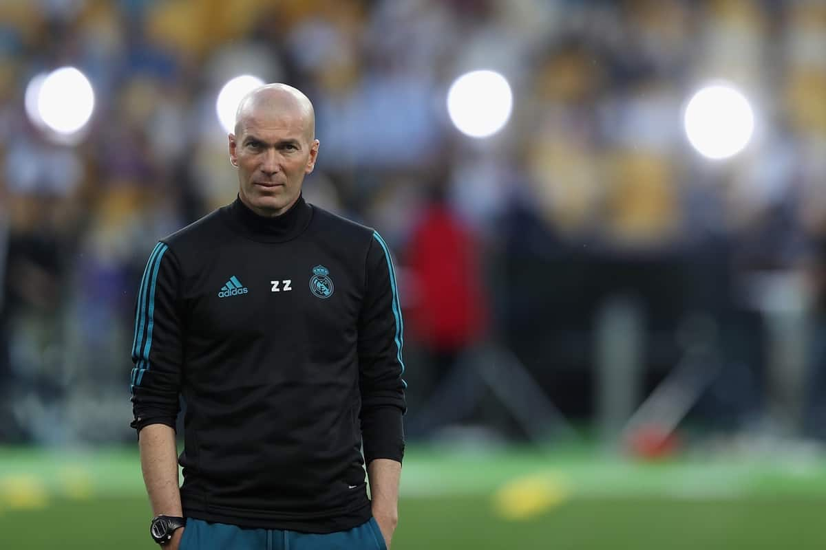 KIEV, UKRAINE - Friday, May 25, 2018: Real Madrid's head coach ZinÈdine Zidane during a training session at the NSC Olimpiyskiy ahead of the UEFA Champions League Final match between Real Madrid CF and Liverpool FC. (Handout/UEFA via Propaganda)