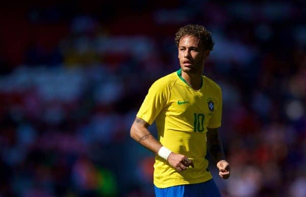 LIVERPOOL, ENGLAND - Sunday, June 3, 2018: Brazil's Neymar da Silva Santos Júnior during an international friendly between Brazil and Croatia at Anfield. (Pic by David Rawcliffe/Propaganda)