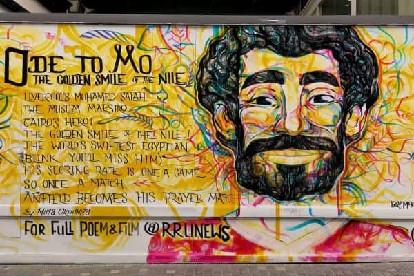 "LIVERPOOL, ENGLAND - Friday, June 8, 2018: An ""Ode to Mo"" poem and street art by Musa Okwonga dedicated to Liverpool and Egypt footballer Mohamed Salah painted on a vacant lot in Liverpool city centre. (Pic by David Rawcliffe/Propaganda)"