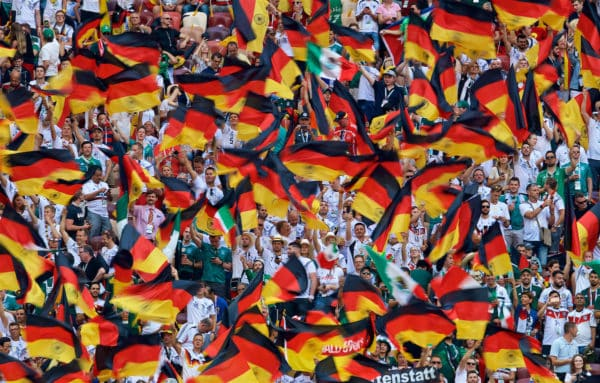 MOSCOW, RUSSIA - Sunday, June 17, 2018: Germany supporters wave their country's flags during the FIFA World Cup Russia 2018 Group F match between Germany and Mexico at the Luzhniki Stadium. (Pic by David Rawcliffe/Propaganda)
