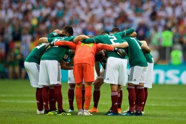 MOSCOW, RUSSIA - Sunday, June 17, 2018: Mexico players form a pre-match huddle before the FIFA World Cup Russia 2018 Group F match between Germany and Mexico at the Luzhniki Stadium. (Pic by David Rawcliffe/Propaganda)