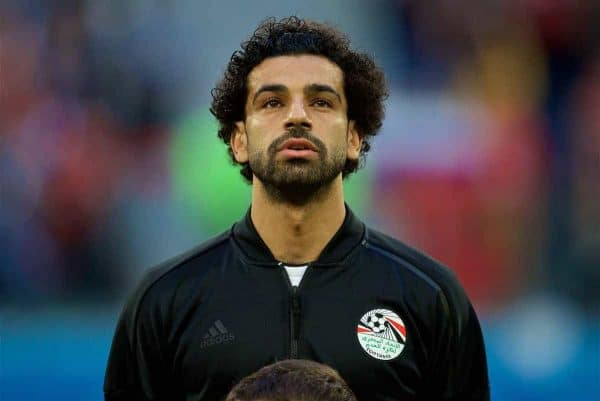 SAINT PETERSBURG, RUSSIA - Tuesday, June 19, 2018: Egypt's Mohamed Salah before the FIFA World Cup Russia 2018 Group A match between Russia and Egypt at the Saint Petersburg Stadium. (Pic by David Rawcliffe/Propaganda)