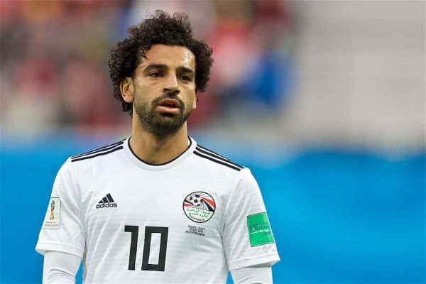 SAINT PETERSBURG, RUSSIA - Tuesday, June 19, 2018: Egypt's Mohamed Salah during the FIFA World Cup Russia 2018 Group A match between Russia and Egypt at the Saint Petersburg Stadium. (Pic by David Rawcliffe/Propaganda)