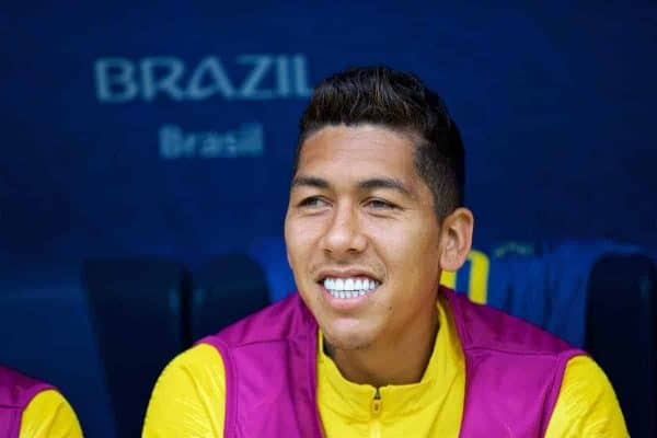SAINT PETERSBURG, RUSSIA - Friday, June 22, 2018: Brazil's substitute Roberto Firmino during the FIFA World Cup Russia 2018 Group E match between Brazil and Costa Rica at the Saint Petersburg Stadium. (Pic by David Rawcliffe/Propaganda)