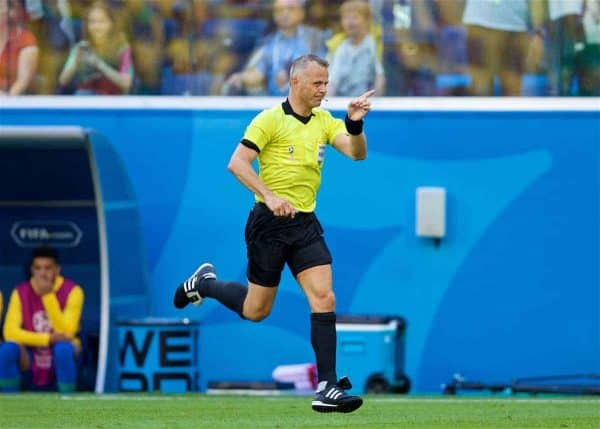 SAINT PETERSBURG, RUSSIA - Friday, June 22, 2018: Referee Björn Kuipers waves his finger as he disallows a Brazil penalty after consulting VAR (Video Assisted Referee) during the FIFA World Cup Russia 2018 Group E match between Brazil and Costa Rica at the Saint Petersburg Stadium. (Pic by David Rawcliffe/Propaganda)