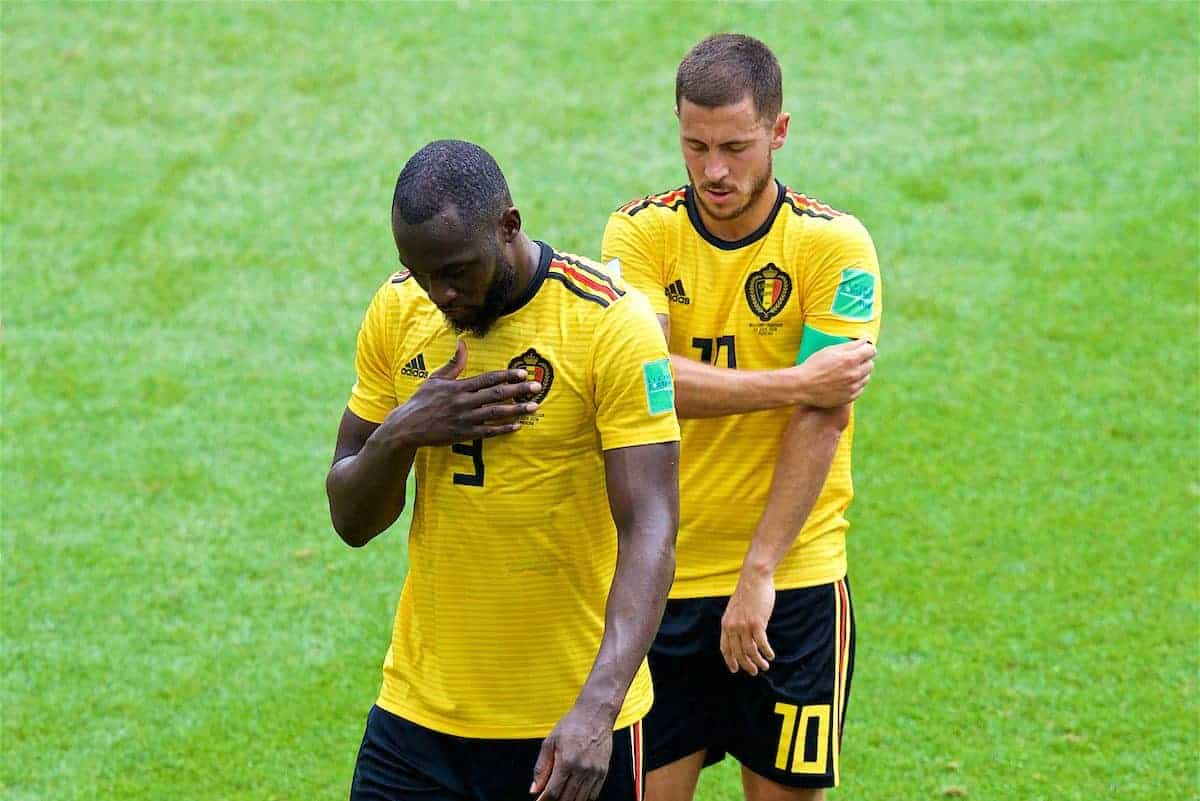 MOSCOW, RUSSIA - Saturday, June 23, 2018: Belgium's goal-scorers Romelu Lukaku (x2) and Eden Hazard walk off at half-time during the FIFA World Cup Russia 2018 Group G match between Belgium and Tunisia at the Spartak Stadium. (Pic by David Rawcliffe/Propaganda)