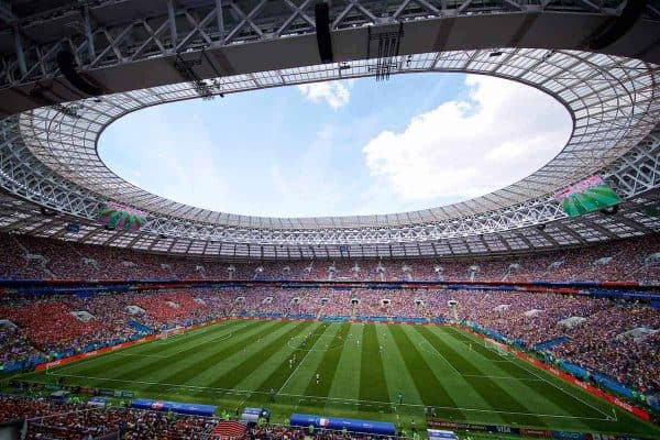 MOSCOW, RUSSIA - Tuesday, June 26, 2018: Denmark take on France during the FIFA World Cup Russia 2018 Group C match at the Luzhniki Stadium. (Pic by David Rawcliffe/Propaganda)