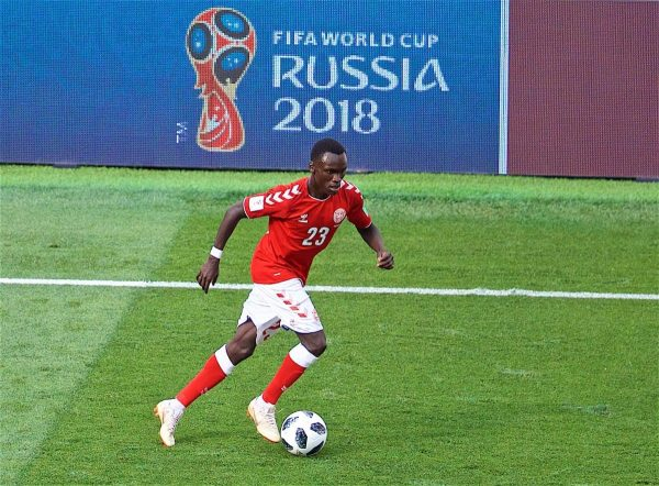 MOSCOW, RUSSIA - Tuesday, June 26, 2018: Denmark's Pione Sisto during the FIFA World Cup Russia 2018 Group C match between Denmark and France at the Luzhniki Stadium. (Pic by David Rawcliffe/Propaganda)