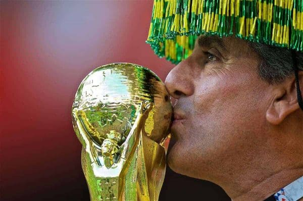 MOSCOW, RUSSIA - Wednesday, June 27, 2018: A Brazil supporter kisses a replica World Cup trophy during the FIFA World Cup Russia 2018 Group E match between Serbia and Brazil at the Spartak Stadium. (Pic by David Rawcliffe/Propaganda)
