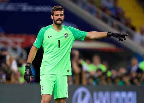 MOSCOW, RUSSIA - Wednesday, June 27, 2018: Brazil's goalkeeper Alisson Becker during the FIFA World Cup Russia 2018 Group E match between Serbia and Brazil at the Spartak Stadium. (Pic by David Rawcliffe/Propaganda)