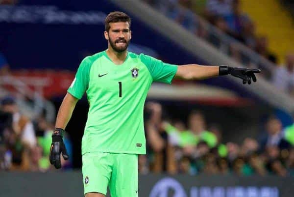 Brazil's goalkeeper Alisson Becker during the FIFA World Cup Russia 2018 Group E match between Serbia and Brazil at the Spartak Stadium. (Pic by David Rawcliffe/Propaganda)