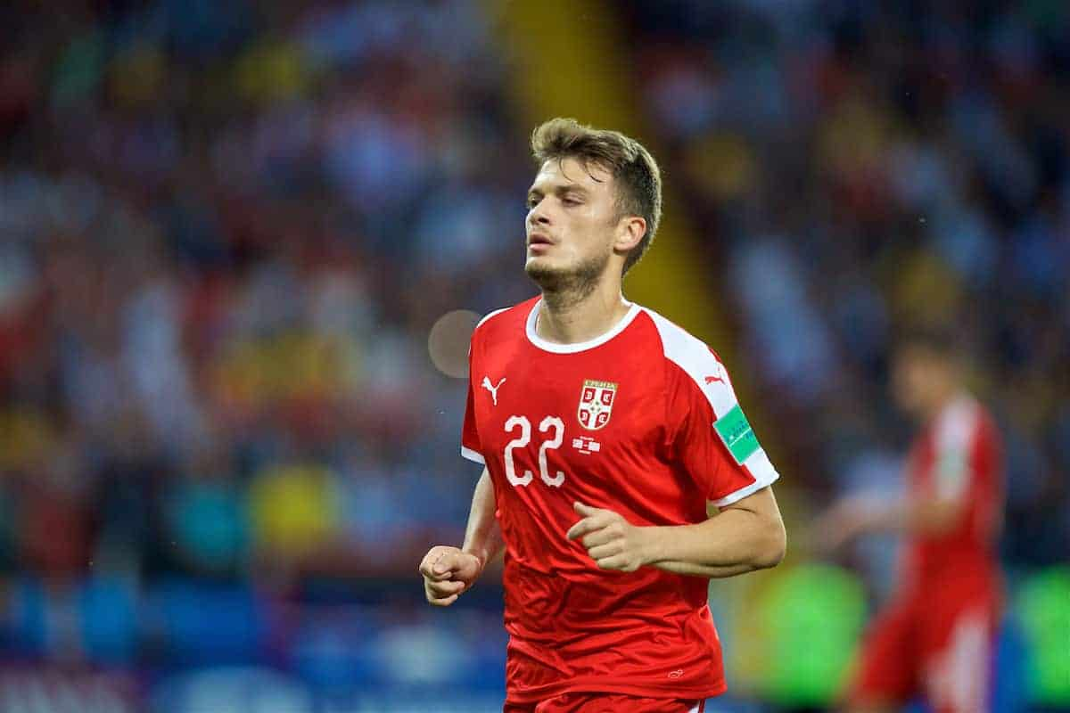 MOSCOW, RUSSIA - Wednesday, June 27, 2018: Serbia's Adem Ljajic during the FIFA World Cup Russia 2018 Group E match between Serbia and Brazil at the Spartak Stadium. (Pic by David Rawcliffe/Propaganda)