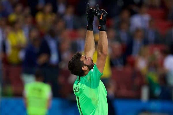 MOSCOW, RUSSIA - Wednesday, June 27, 2018: Brazil's goalkeeper Alisson Becker celebrates his side's first goal during the FIFA World Cup Russia 2018 Group E match between Serbia and Brazil at the Spartak Stadium. (Pic by David Rawcliffe/Propaganda)