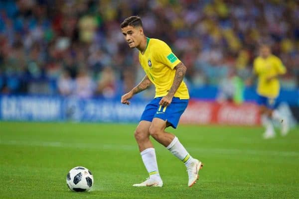 MOSCOW, RUSSIA - Wednesday, June 27, 2018: Brazil's Philippe Coutinho Correia during the FIFA World Cup Russia 2018 Group E match between Serbia and Brazil at the Spartak Stadium. (Pic by David Rawcliffe/Propaganda)