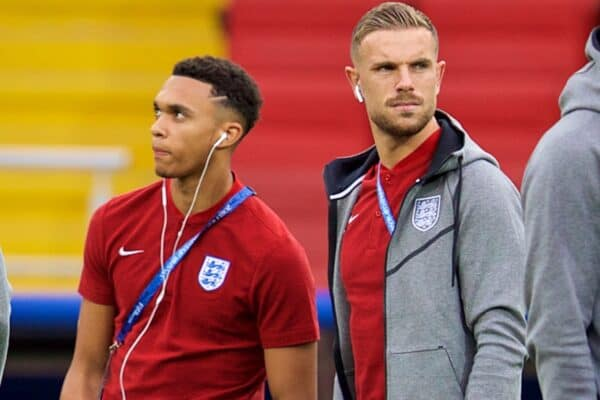 MOSCOW, RUSSIA - Tuesday, July 3, 2018: England's Liverpool players Trent Alexander-Arnold and Jordan Henderson during the FIFA World Cup Russia 2018 Round of 16 match between Colombia and England at the Spartak Stadium. (Pic by David Rawcliffe/Propaganda)
