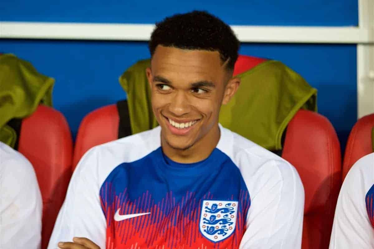 MOSCOW, RUSSIA - Tuesday, July 3, 2018: England's substitute Liverpool full-back Trent Alexander-Arnold on the bench before the FIFA World Cup Russia 2018 Round of 16 match between Colombia and England at the Spartak Stadium. (Pic by David Rawcliffe/Propaganda)