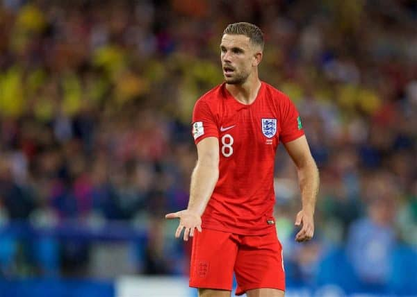 England's Jordan Henderson during the FIFA World Cup Russia 2018 Round of 16 match between Colombia and England at the Spartak Stadium. (Pic by David Rawcliffe/Propaganda)