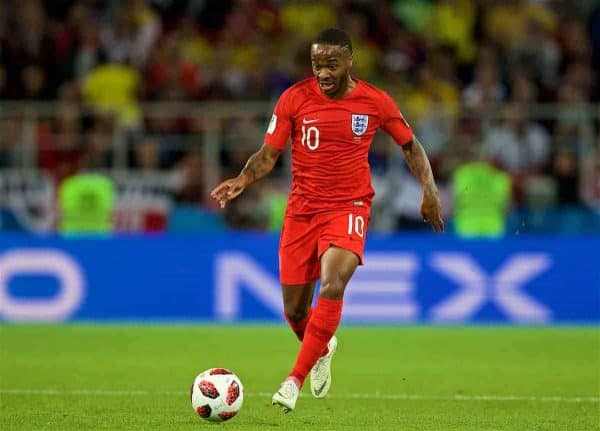 MOSCOW, RUSSIA - Tuesday 3 July 2018: England's Raheem Sterling during the 2018 FIFA World Cup Russia™ Round of 16 match between Colombia and England at Spartak Stadium.  (Pic David Rawcliffe/Publicity)