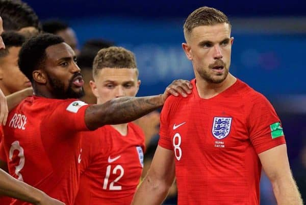 MOSCOW, RUSSIA - Tuesday, July 3, 2018: England's Jordan Henderson is consoled by team-mate Danny Rose after missing his side's third penalty of the shoot-out during the FIFA World Cup Russia 2018 Round of 16 match between Colombia and England at the Spartak Stadium. (Pic by David Rawcliffe/Propaganda)