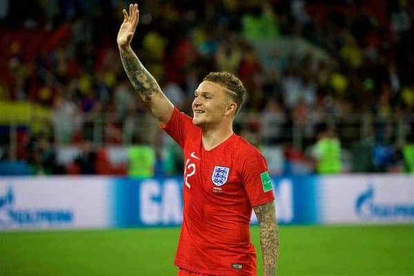 MOSCOW, RUSSIA - Tuesday, July 3, 2018: England's Kieran Trippier celebrates after winning the penalty shoot-out during the FIFA World Cup Russia 2018 Round of 16 match between Colombia and England at the Spartak Stadium. (Pic by David Rawcliffe/Propaganda)