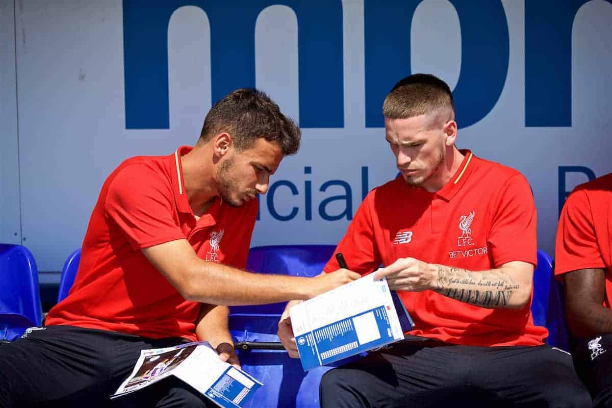 CHESTER, ENGLAND - Saturday, July 7, 2018: Liverpool's Pedro Chirivella and Ryan Kent sign autographs before a preseason friendly match between Chester FC and Liverpool FC at the Deva Stadium. (Pic by Paul Greenwood/Propaganda)