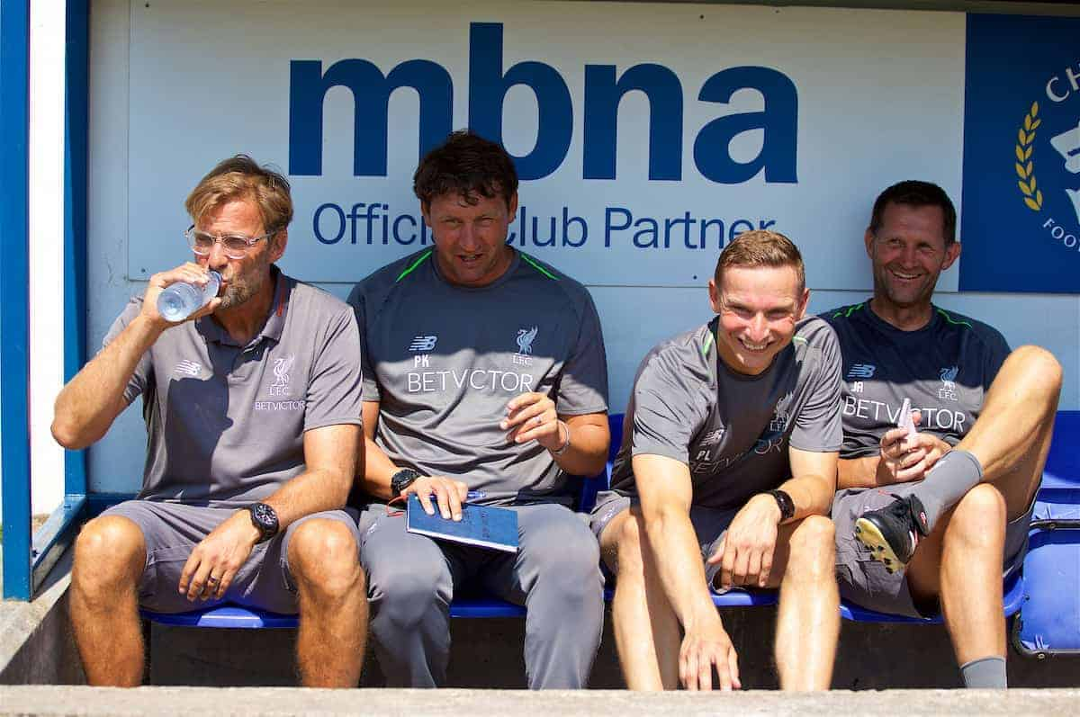 CHESTER, ENGLAND - Saturday, July 7, 2018: Liverpool's manager Jürgen Klopp, with backroom staff first team coach Peter Krawietz, first-team development coach Pepijn Lijnders, goalkeeping coach John Achterberg on the bench before a preseason friendly match between Chester FC and Liverpool FC at the Deva Stadium. (Pic by Paul Greenwood/Propaganda)