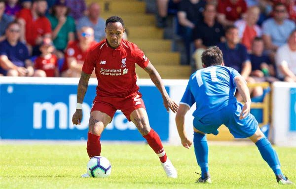 CHESTER, ENGLAND - Saturday, July 7, 2018: Liverpool's Nathaniel Clyne during a preseason friendly match between Chester FC and Liverpool FC at the Deva Stadium. (Pic by Paul Greenwood/Propaganda)