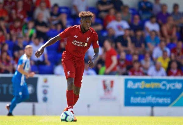 CHESTER, ENGLAND - Saturday, July 7, 2018: Liverpool's Divock Origi during a preseason friendly match between Chester FC and Liverpool FC at the Deva Stadium. (Pic by Paul Greenwood/Propaganda)