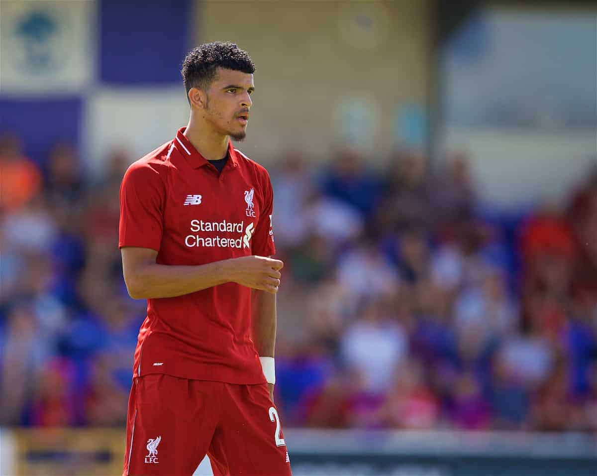 CHESTER, ENGLAND - Saturday, July 7, 2018: Liverpool's Dominic Solanke during a preseason friendly match between Chester FC and Liverpool FC at the Deva Stadium. (Pic by Paul Greenwood/Propaganda)