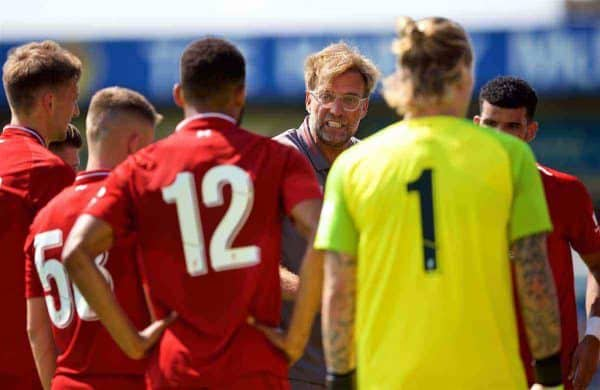 Liverpool's manager Jürgen Klopp speaks with players during a water break in the preseason friendly match between Chester FC and Liverpool FC at the Deva Stadium. (Pic by Paul Greenwood/Propaganda)