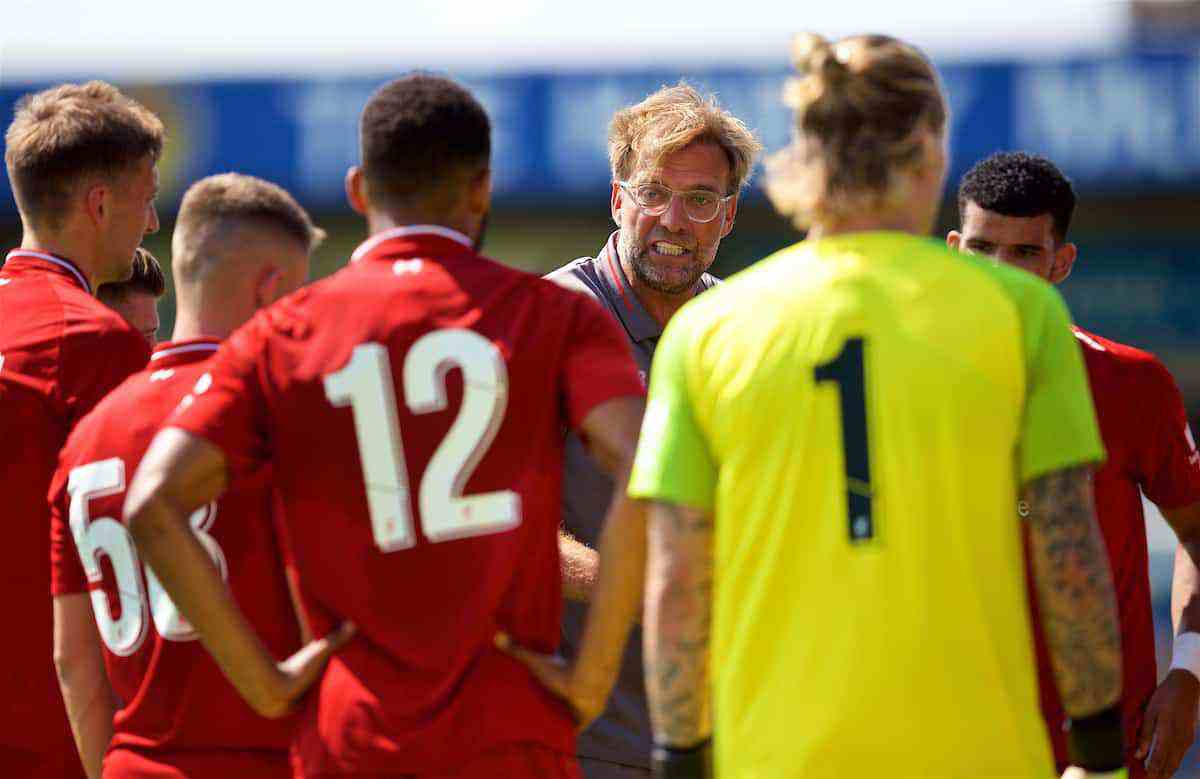 CHESTER, ENGLAND - Saturday, July 7, 2018: Liverpool's manager Jürgen Klopp speaks with players during a water break in the preseason friendly match between Chester FC and Liverpool FC at the Deva Stadium. (Pic by Paul Greenwood/Propaganda)