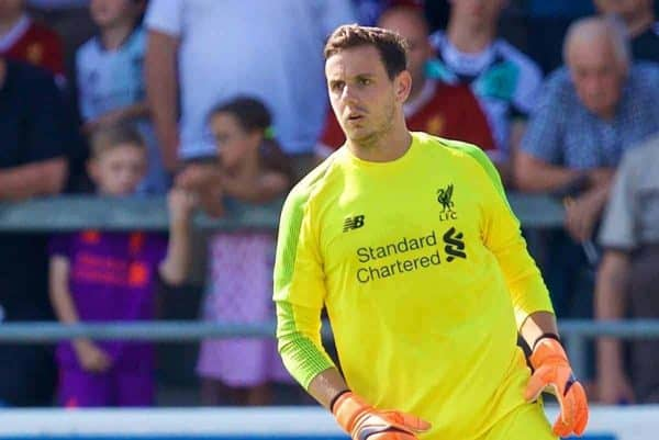 CHESTER, ENGLAND - Saturday, July 7, 2018: Liverpool's goalkeeper Danny Ward during a preseason friendly match between Chester FC and Liverpool FC at the Deva Stadium. (Pic by Paul Greenwood/Propaganda)
