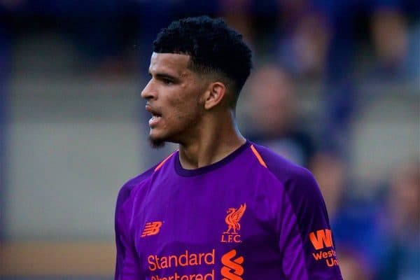 BIRKENHEAD, ENGLAND - Tuesday, July 10, 2018: Liverpool's Dominic Solanke during a preseason friendly match between Tranmere Rovers FC and Liverpool FC at Prenton Park. (Pic by Paul Greenwood/Propaganda)
