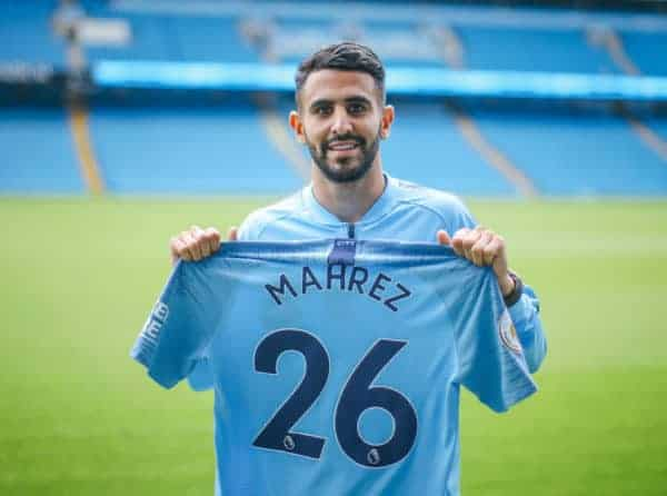 MANCHESTER, ENGLAND - Thursday, July 12, 2018: Manchester City's new club record signing Riyad Mahrez from Leicester City. (Photo by Handout/Manchester City FC)