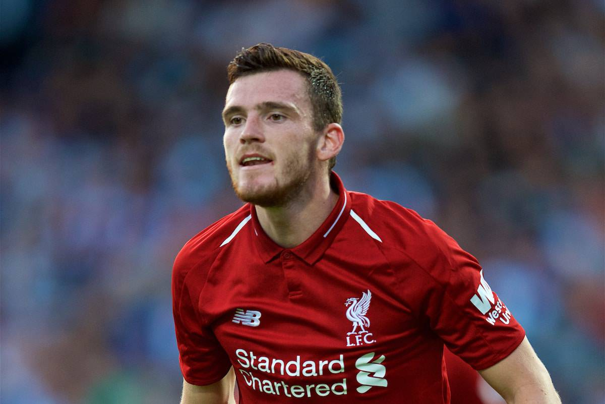 BLACKBURN, ENGLAND - Thursday, July 19, 2018: Liverpool's Andy Robertson during a preseason friendly match between Blackburn Rovers FC and Liverpool FC at Ewood Park. (Pic by David Rawcliffe/Propaganda)