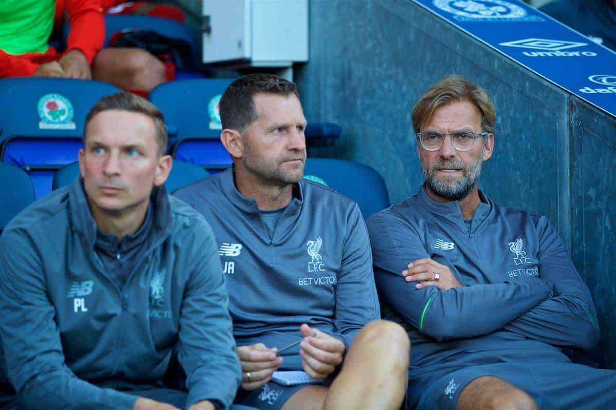 BLACKBURN, ENGLAND - Thursday, July 19, 2018: Liverpool's manager Jürgen Klopp (right) during a preseason friendly match between Blackburn Rovers FC and Liverpool FC at Ewood Park. (Pic by Paul Greenwood/Propaganda)