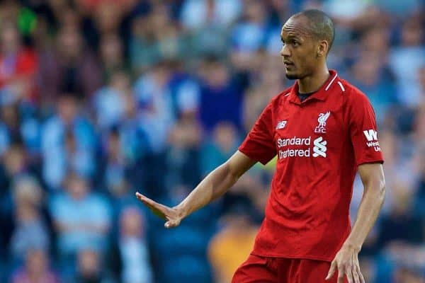 BLACKBURN, ENGLAND - Thursday, July 19, 2018: Liverpool's Fabio Henrique Tavares 'Fabinho' during a preseason friendly match between Blackburn Rovers FC and Liverpool FC at Ewood Park. (Pic by Paul Greenwood/Propaganda)