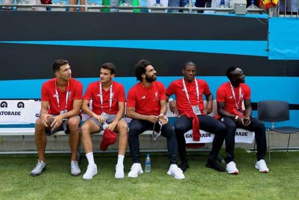 CHARLOTTE, USA - Sunday, July 22, 2018: Liverpool's Marko Grujic, Pedro Chirivella, Mohamed Salah, Georginio Wijnaldum and Sadio Mane before a preseason International Champions Cup match between Borussia Dortmund and Liverpool FC at the Bank of America Stadium. (Pic by David Rawcliffe/Propaganda)