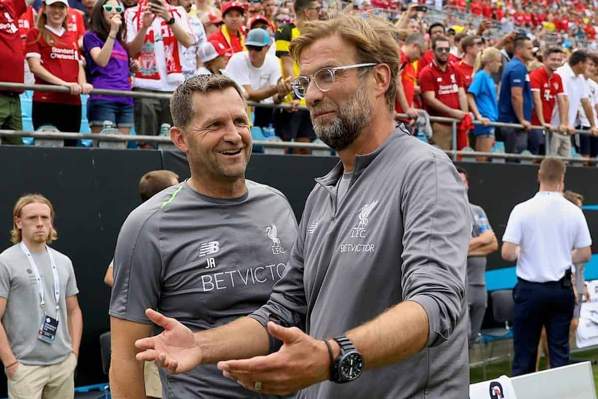 CHARLOTTE, USA - Sunday, July 22, 2018: Liverpool's manager J¸rgen Klopp and goalkeeping coach John Achterberg during a preseason International Champions Cup match between Borussia Dortmund and Liverpool FC at the Bank of America Stadium. (Pic by David Rawcliffe/Propaganda)
