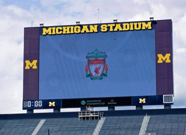 ANN ARBOR, USA - Friday, July 27, 2018: Liverpool's club badge on the giant screen during a training session ahead of the preseason International Champions Cup match between Manchester United FC and Liverpool FC at the Michigan Stadium. (Pic by David Rawcliffe/Propaganda)