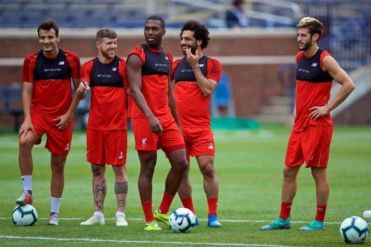 ANN ARBOR, USA - Friday, July 27, 2018: Liverpool's Pedro Chirivella, Alberto Moreno, Daniel Sturridge, Mohamed Salah and Adam Lallana during a training session ahead of the preseason International Champions Cup match between Manchester United FC and Liverpool FC at the Michigan Stadium. (Pic by David Rawcliffe/Propaganda)