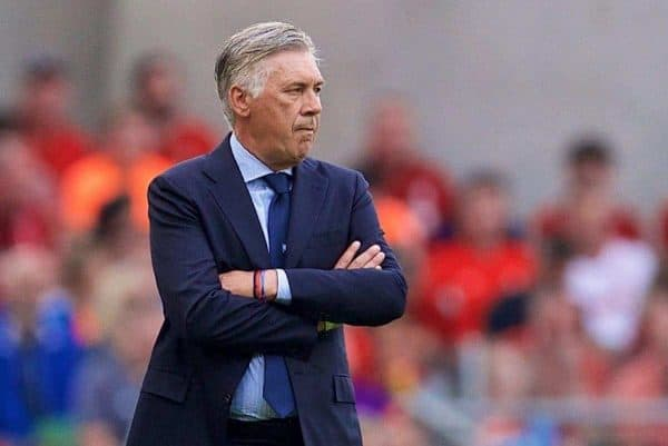DUBLIN, REPUBLIC OF IRELAND - Saturday, August 4, 2018: Napoli's head coach Carlo Ancelotti during the preseason friendly match between SSC Napoli and Liverpool FC at Landsdowne Road. (Pic by David Rawcliffe/Propaganda)