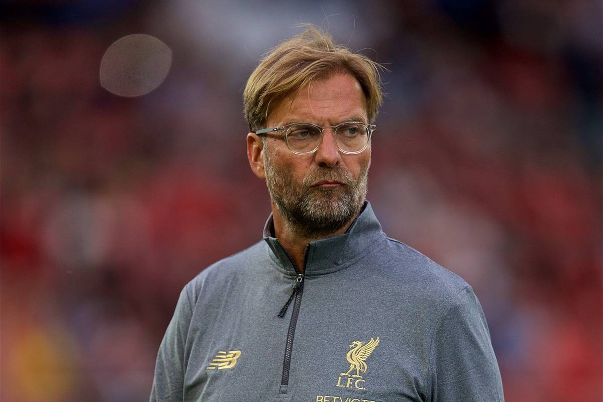 LIVERPOOL, ENGLAND - Tuesday, August 7, 2018: Liverpool's manager J¸rgen Klopp watches the pre-match warm-up before the preseason friendly match between Liverpool FC and Torino FC at Anfield. (Pic by David Rawcliffe/Propaganda)