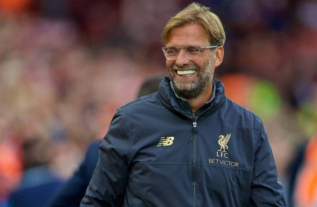 LIVERPOOL, ENGLAND - Tuesday, August 7, 2018: Liverpool's manager Jürgen Klopp before the preseason friendly match between Liverpool FC and Torino FC at Anfield. (Pic by David Rawcliffe/Propaganda)